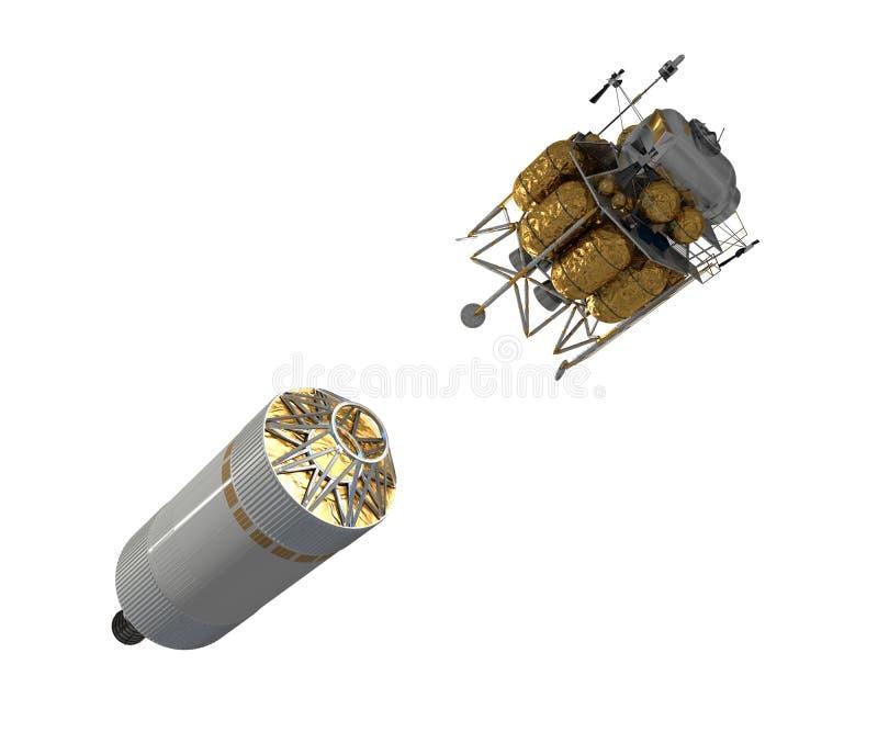 Lanzamiento del vehículo de la exploración del equipo aislado en el fondo blanco ilustración del vector