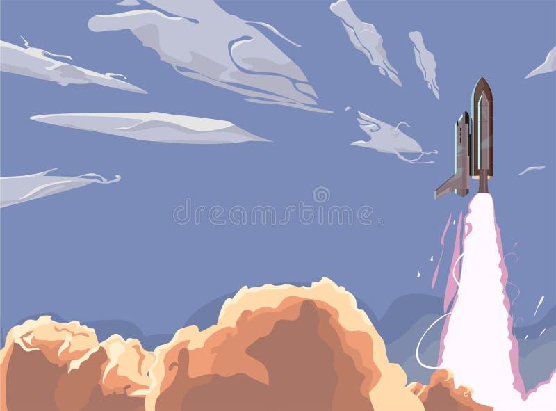 Lanzamiento del vehículo espacial del cielo azul del lanzamiento de la lanzadera lanzamiento con las nubes de humo blancas libre illustration