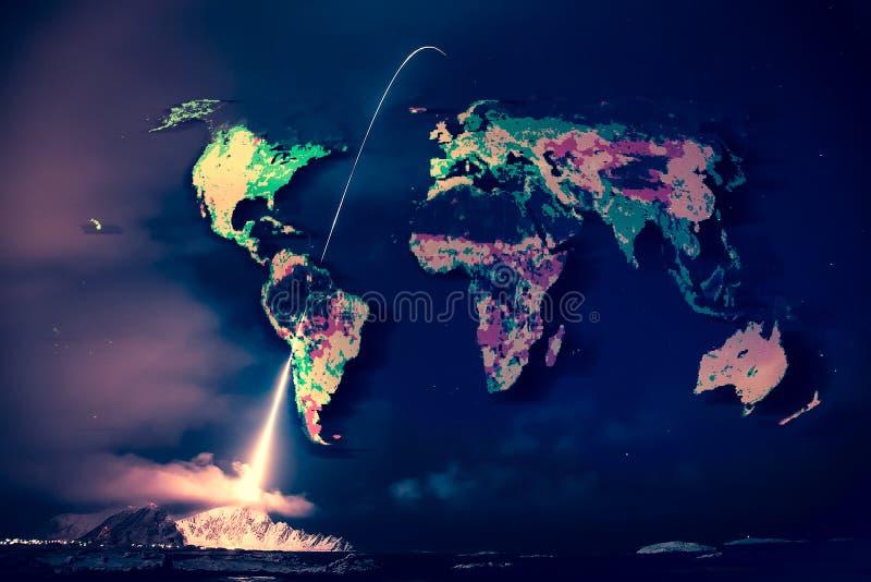 Lanzamiento en la noche, mapa del mundo del misil en el cielo fotos de archivo libres de regalías