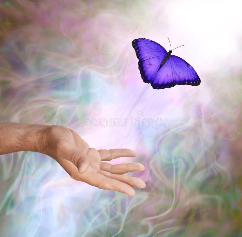 Lanzamiento espiritual simbólico de la mariposa púrpura fotos de archivo