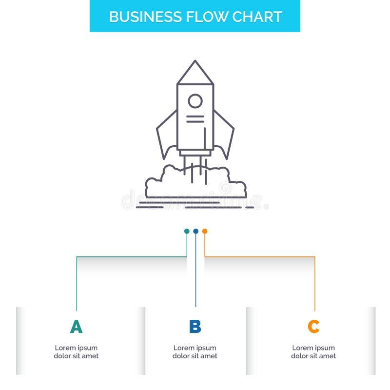 lanzamiento, inicio, nave, lanzadera, diseño del organigrama del negocio de la misión con 3 pasos L?nea icono para la plantilla d ilustración del vector