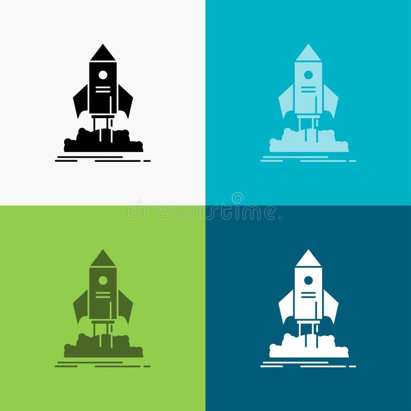 lanzamiento, inicio, nave, lanzadera, icono de la misi?n sobre diverso fondo dise?o del estilo del glyph, dise?ado para el web y  ilustración del vector