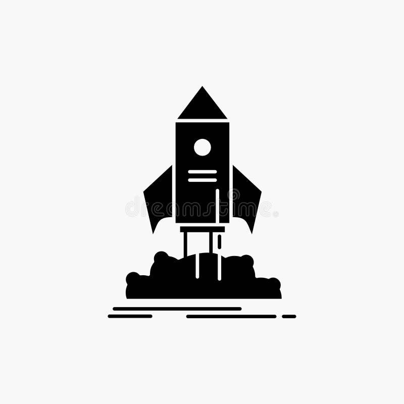 lanzamiento, inicio, nave, lanzadera, icono del Glyph de la misi?n Ejemplo aislado vector stock de ilustración