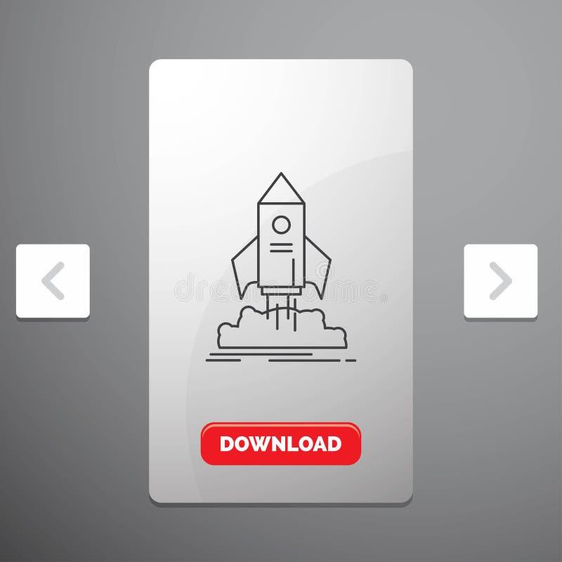 lanzamiento, inicio, nave, lanzadera, línea icono de la misión en diseño del resbalador de las paginaciones de la orgía y botón r libre illustration