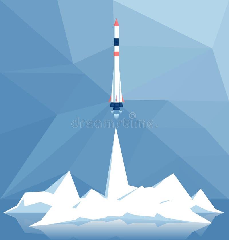 Lanzamiento poligonal del cohete stock de ilustración