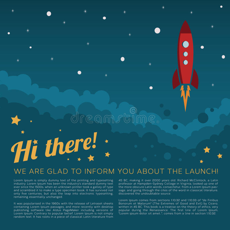 Lanzamiento Rocket del proyecto en fondo del vector de espacio stock de ilustración