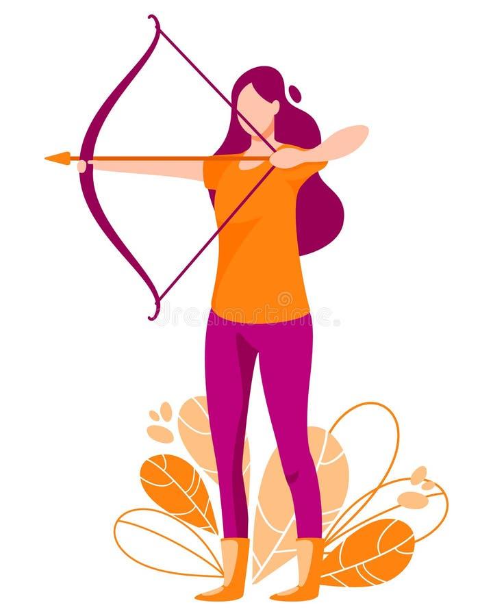 Lanzamientos de la mujer del arco Ejemplo del vector de Archer ilustración del vector
