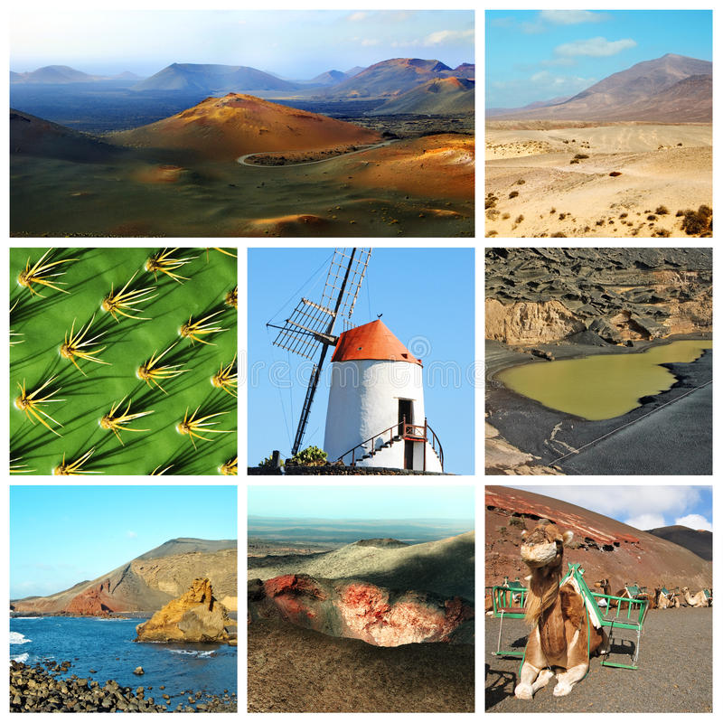 Lanzarote collage. A collage of eight pictures of different views of Lanzarote, Spain royalty free stock photography
