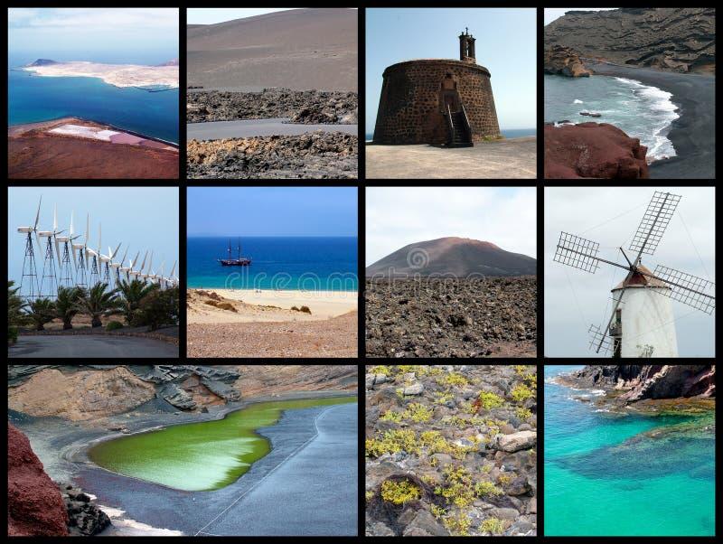 Lanzarote collage - prentbriefkaar stock afbeelding