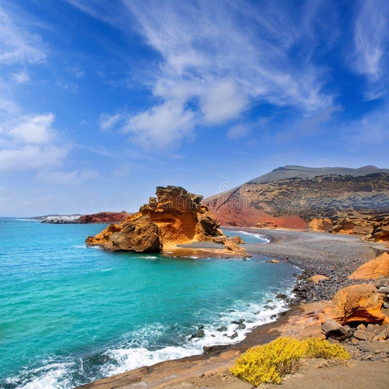 Lanzarote El Golfo Lago de los Clicos стоковое изображение