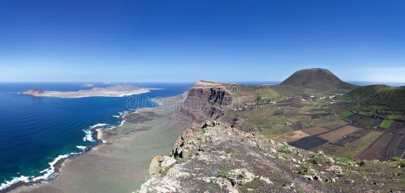 Lanzarote - La Graciosa, penhasco de Famara e Monte Corona imagem de stock royalty free