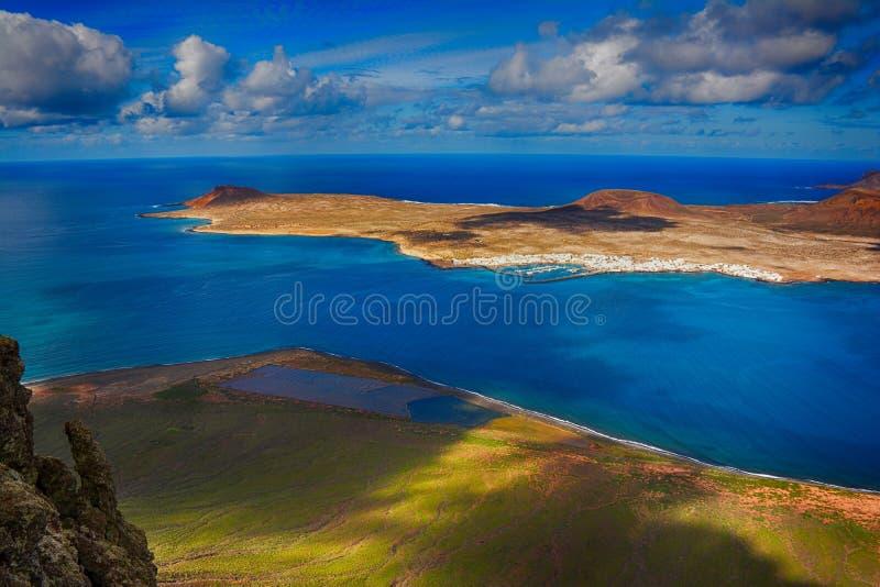 Lanzarote, Mirador del Ρίο Άποψη του νησιού Λα Graciosa στοκ φωτογραφίες