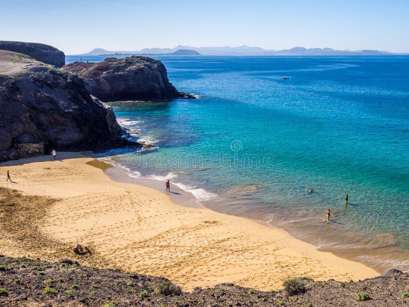 Lanzarote - Papagayo-strand stock foto's