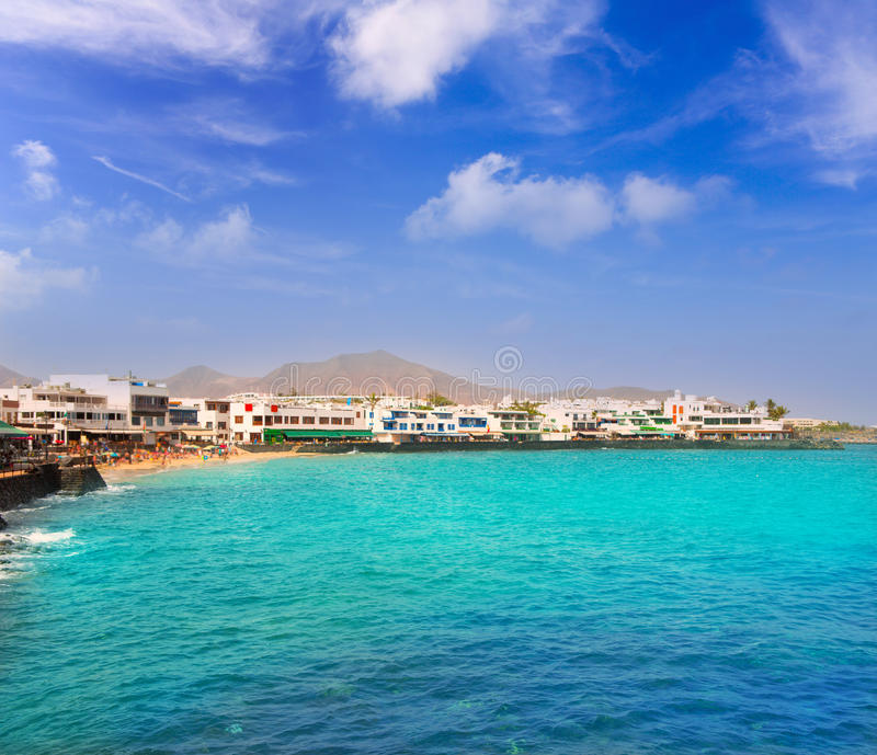 Lanzarote Playa Blanca海滩在大西洋 图库摄影