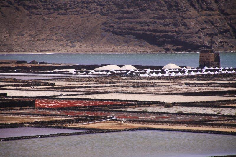 Lanzarote - Salinas de Janubio : Vue panoramique au-dessus des piscines artificielles pour l'extraction de sel à partir de l'Océa photographie stock