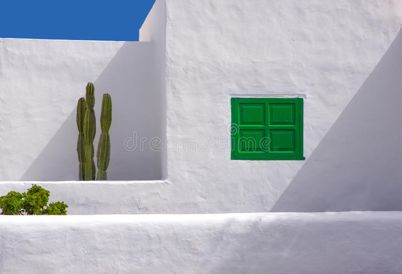 Lanzarote san Bartolome white typical cactus house royalty free stock photography