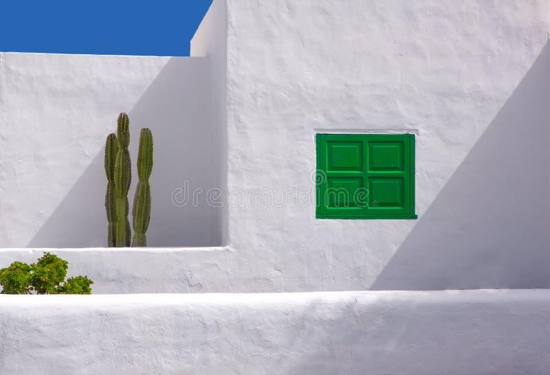 Lanzarote San Bartolome wit typisch cactushuis royalty-vrije stock fotografie