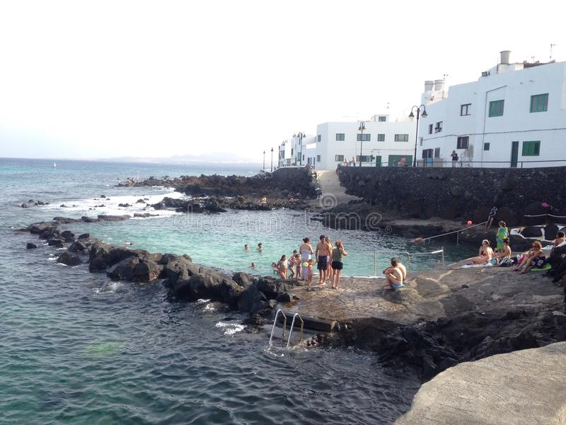 lanzarote seapool royalty free stock images