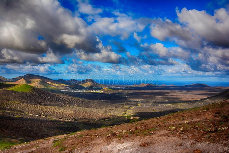 Lanzarote, Vulkanen royalty-vrije stock afbeeldingen