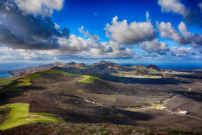 Lanzarote, Vulkanen stock foto's