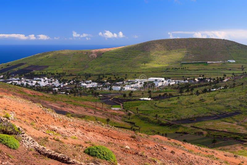 Lanzarote wiejski krajobraz Haria dolina, widok z lotu ptaka Hiszpania zdjęcia stock