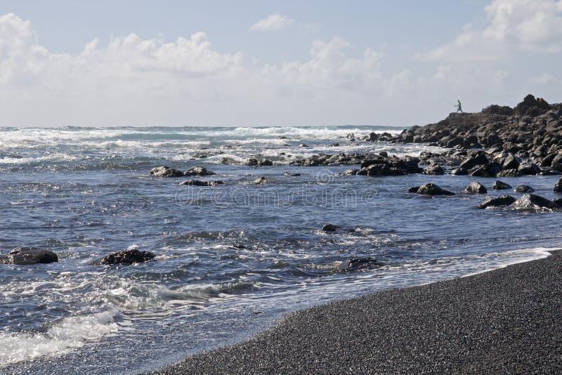 Lanzarote Zwart Zandstrand 1 stock fotografie