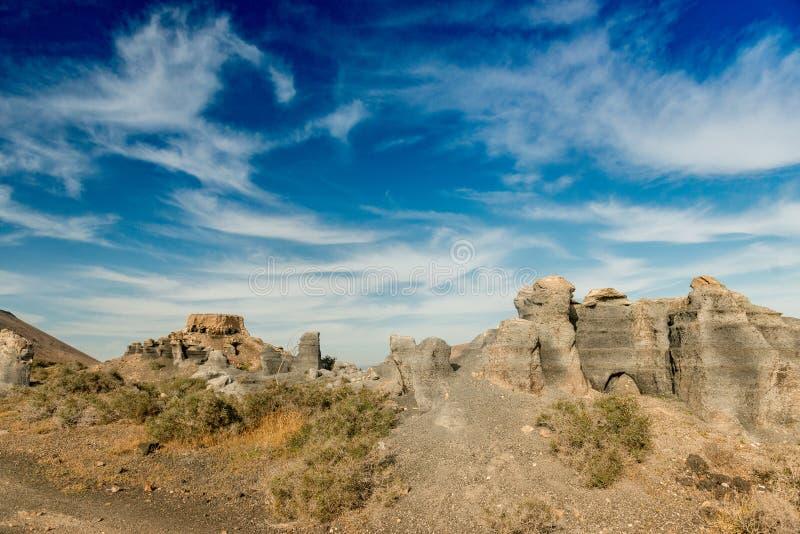 Lanzarotte沙漠和蓝天美丽如画的风景  免版税库存图片