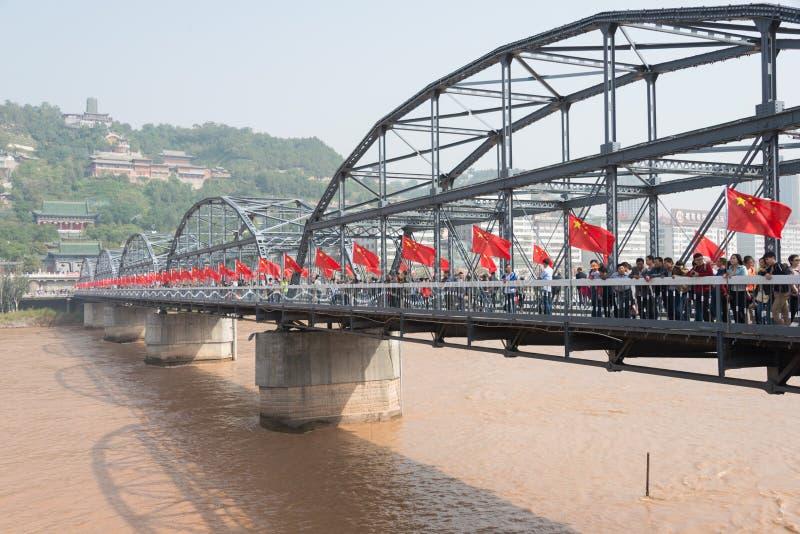 LANZHOU, CHINA - OCT 2 2014: Sun Yat-Sen Bridge (Zhongshan Qiao). a famous First Bridge across the Yellow River in. Lanzhou, Gansu, China royalty free stock photography