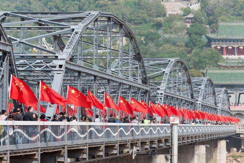 LANZHOU, CHINA - OCT 2 2014: Sun Yat-Sen Bridge (Zhongshan Qiao). a famous First Bridge across the Yellow River in. Lanzhou, Gansu, China stock images