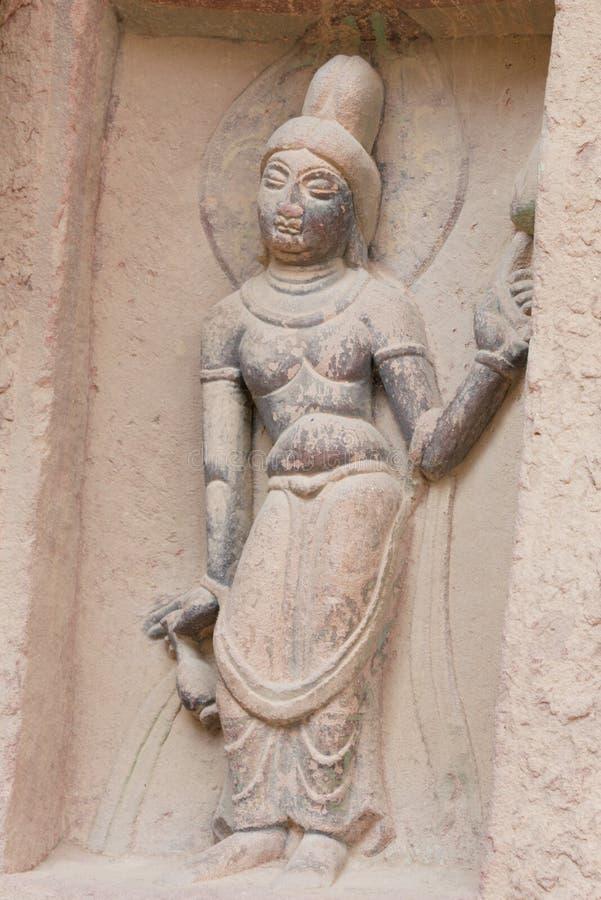 LANZHOU, CHINA - 30 SEP 2014: De Standbeelden van Boedha bij Bingling-Hol Te royalty-vrije stock afbeelding