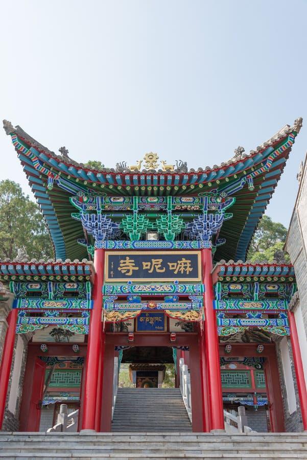 LANZHOU, CHINA - 29 SEP 2014: Mani Temple bij de vijf-Lente Mountai royalty-vrije stock fotografie