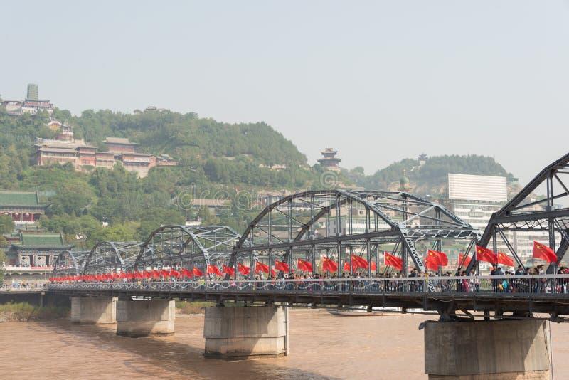LANZHOU CHINY, OCT, - 2 2014: Sun Yat-sen most (Zhongshan Qiao) zdjęcia royalty free