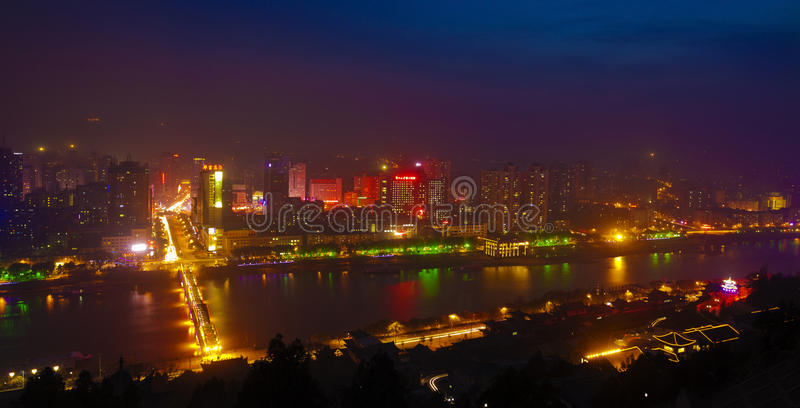 Lanzhou nattplats arkivfoto