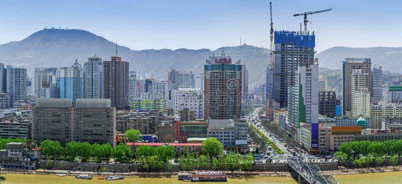Lanzhou stad på mars av 2015, Kina, Gansu landskap arkivbild