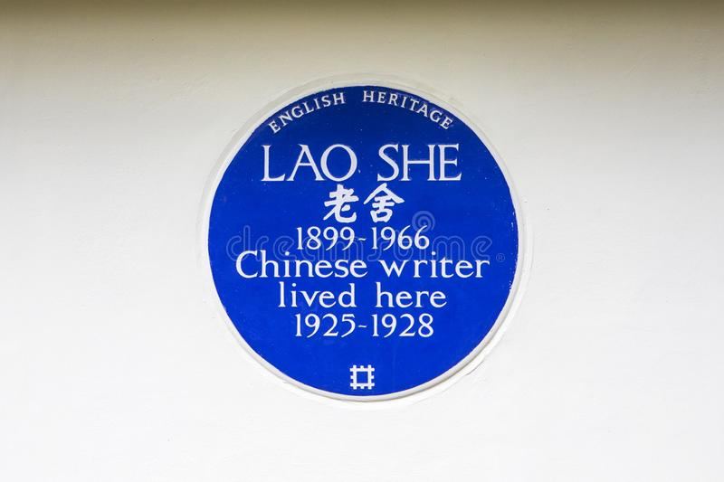 Lao She Blue Plaque in Londen royalty-vrije stock afbeelding