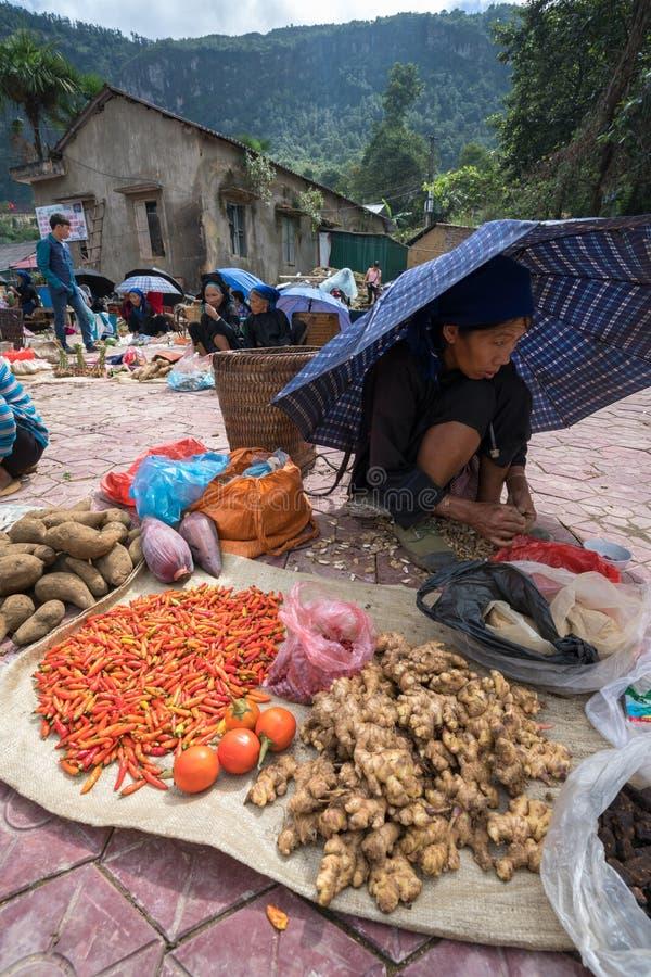 Lao Cai, Vietnam - 7 Sep, 2017: Lokale markt in Y Ty, het district van Knuppelxat De meeste etnische minderheidmensen gaan naar d royalty-vrije stock fotografie