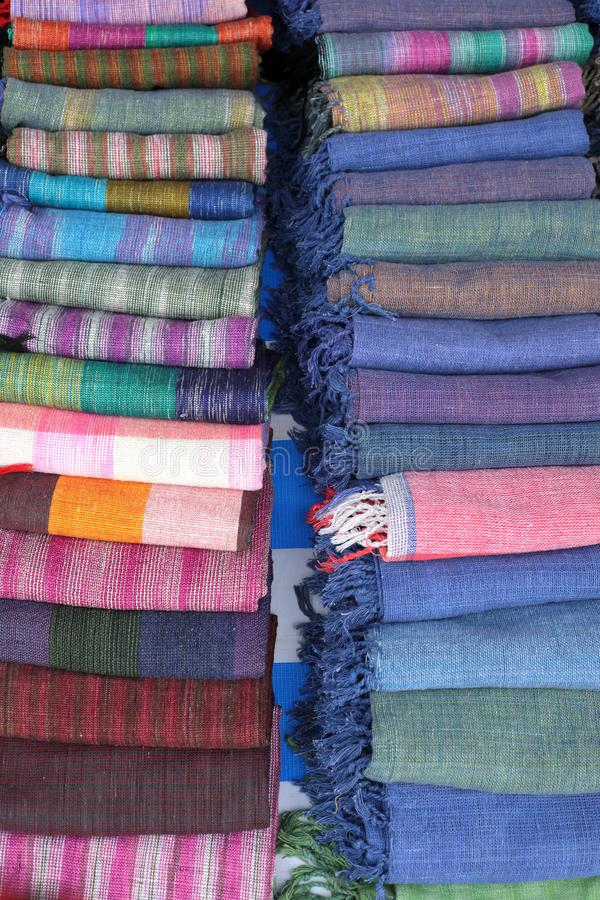 Lao Craft Shawls From Luang hecho a mano Prabang imagen de archivo