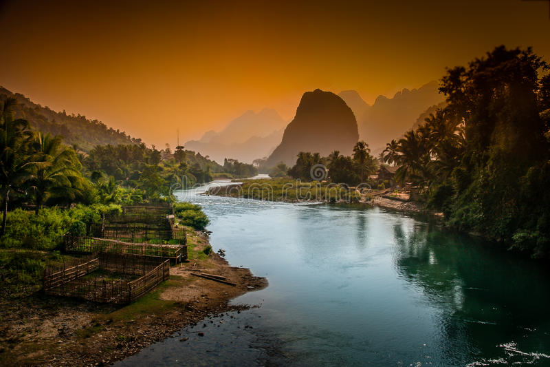 Lao karst mountains. Beautiful karst hills landscape along Nam Song river near Vang Vieng in Laos royalty free stock photography