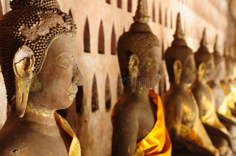 Lao, Vientiane - Wat de tempel van Si Saket stock afbeelding