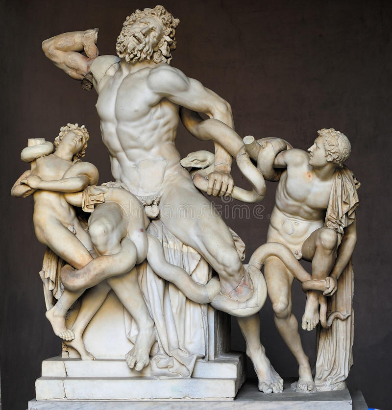 Laocoon Group in the Vatican Museum. The Laocoon Group in the Vatican Museum. This statue depicts Laocoon and his sons being attacked by a giant Sea Monster royalty free stock images