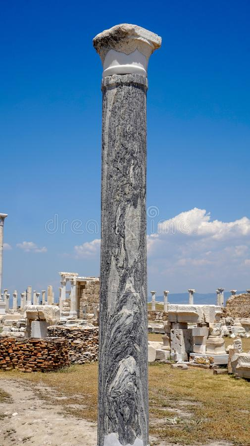 Ancient Greek City Ruins, Laodikeia. Laodikeia is situated in an excellent geographical location on the south side of the Lycus River, 6 km north of Denizli. The royalty free stock photo