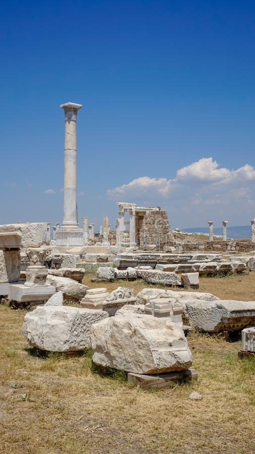 Ancient Greek City Ruins, Laodikeia. Laodikeia is situated in an excellent geographical location on the south side of the Lycus River, 6 km north of Denizli. The stock photography