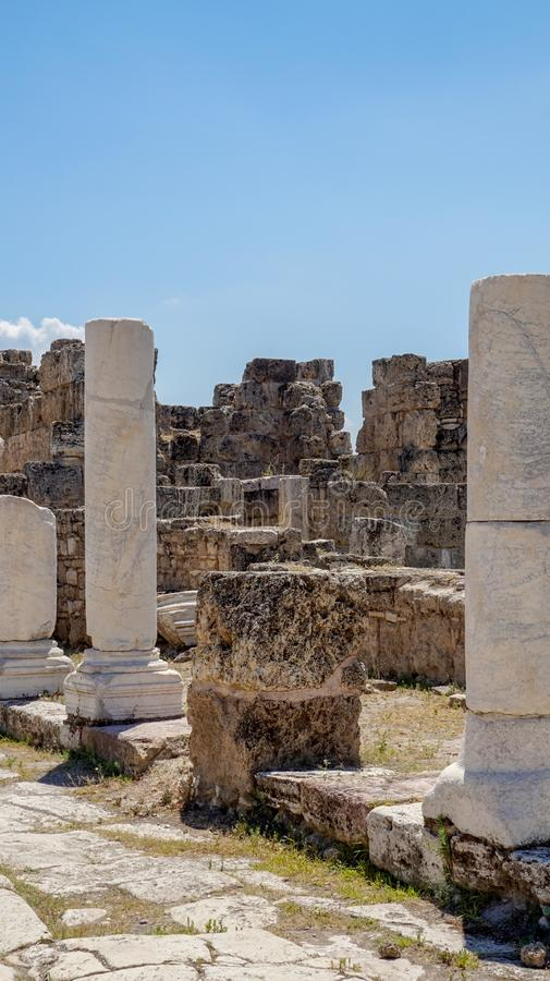 Ancient Greek City Ruins, Laodikeia. Laodikeia is situated in an excellent geographical location on the south side of the Lycus River, 6 km north of Denizli. The stock photos