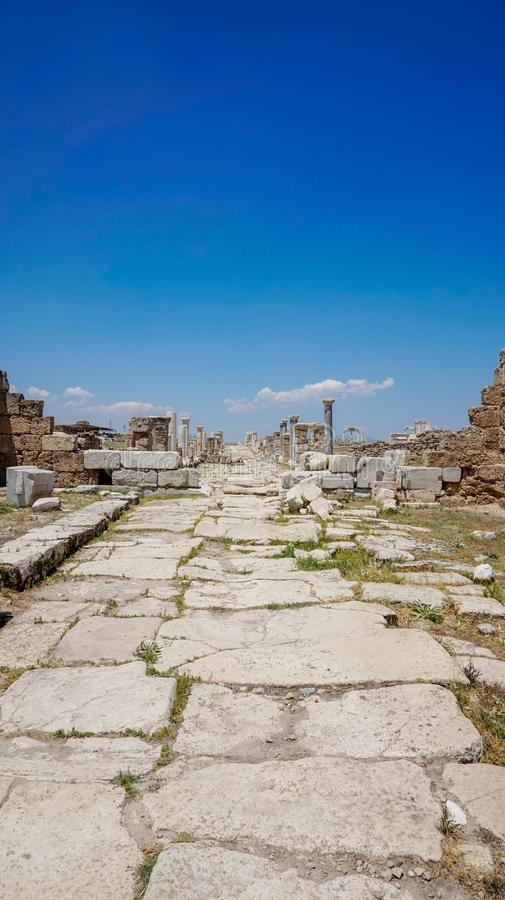 Ancient Greek City Ruins, Laodikeia. Laodikeia is situated in an excellent geographical location on the south side of the Lycus River, 6 km north of Denizli. The stock photo