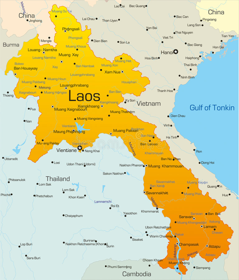 Laos. Vector map of Laos country