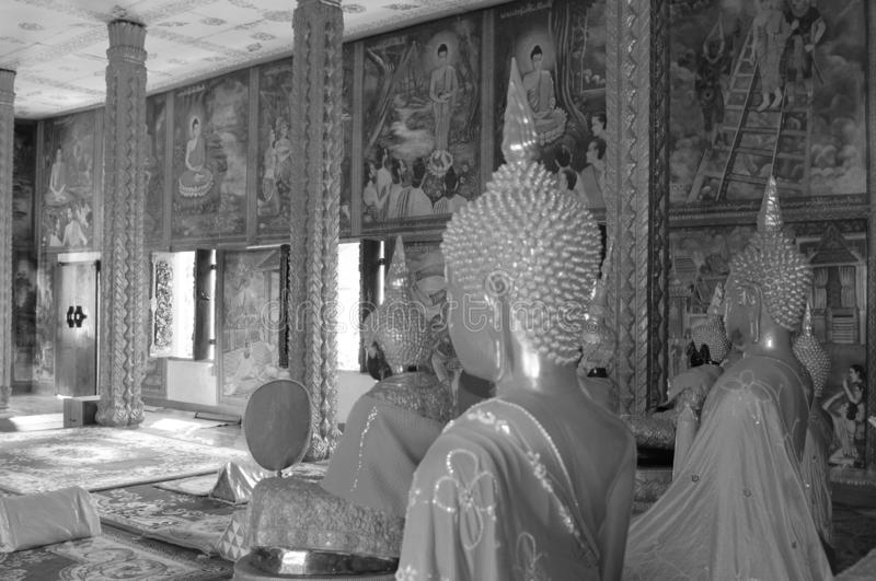 Laos: Beautifull temple at Indochina biggest Theravada Buddhist-College in Pakse. But due to Corona Covid19 virus there are no visitors anymore royalty free stock photos