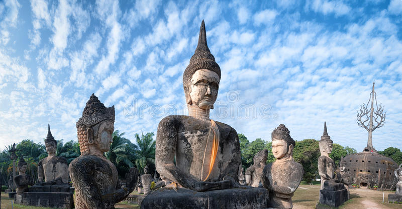 Laos Buddha park.Tourist attraction in Vientiane royalty free stock image