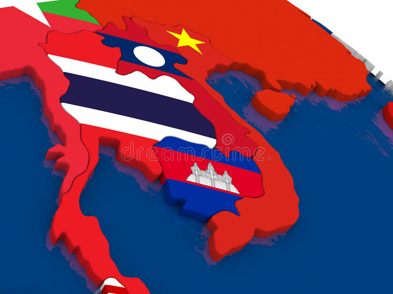 Laos and Cambodia on 3D map with flags vector illustration
