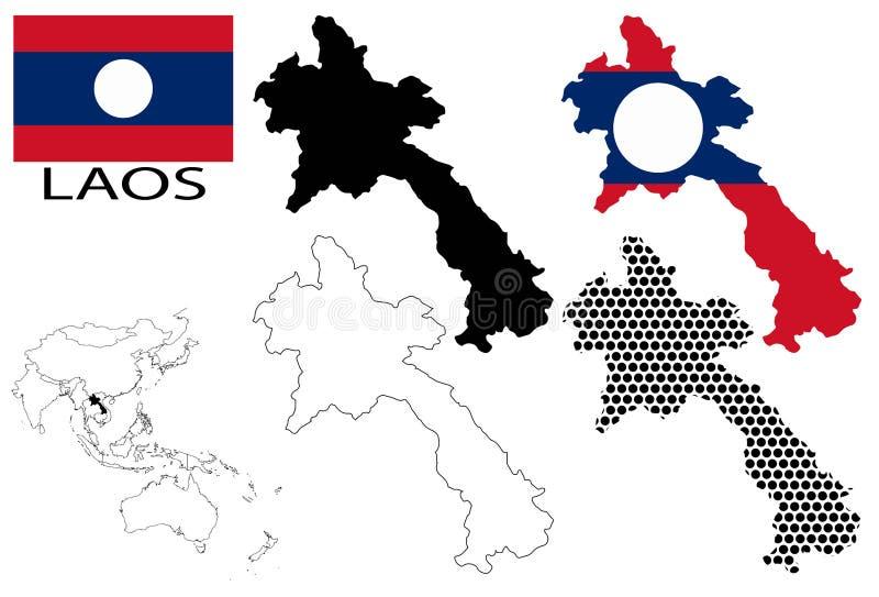 Laos Contour Maps National Flag And Asia Map Vector Stock - Laos map vector