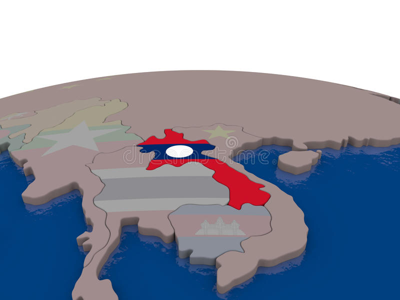 Download Laos with flag stock illustration. Image of political - 83715616